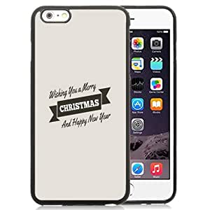 Fashionable Custom Designed iPhone 6 Plus 5.5 Inch Phone Case With Merry Christmas Happy New Year Ribbon Design_Black Phone Case