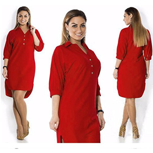TAORE Women Plus Size Summer Dress Three Quarter Sleeve Mini Dress (US10=Label Size3XL, Red)