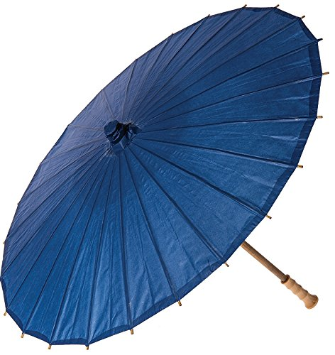 Luna Bazaar Paper Parasol (32-Inch, Navy Blue) - Chinese/Japanese Paper Umbrella - For Weddings and Personal Sun Protection