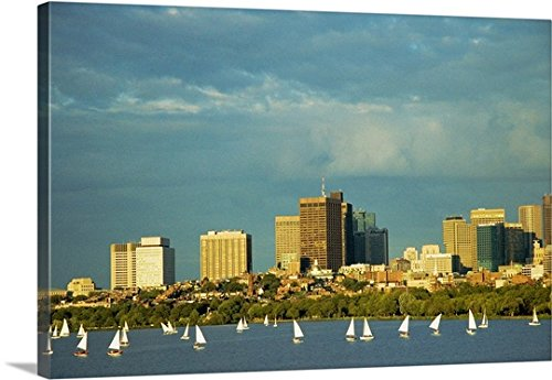 mium Thick-Wrap Canvas Wall Art Print entitled Sailboats in a river, Charles River, Boston, Massachusetts 24