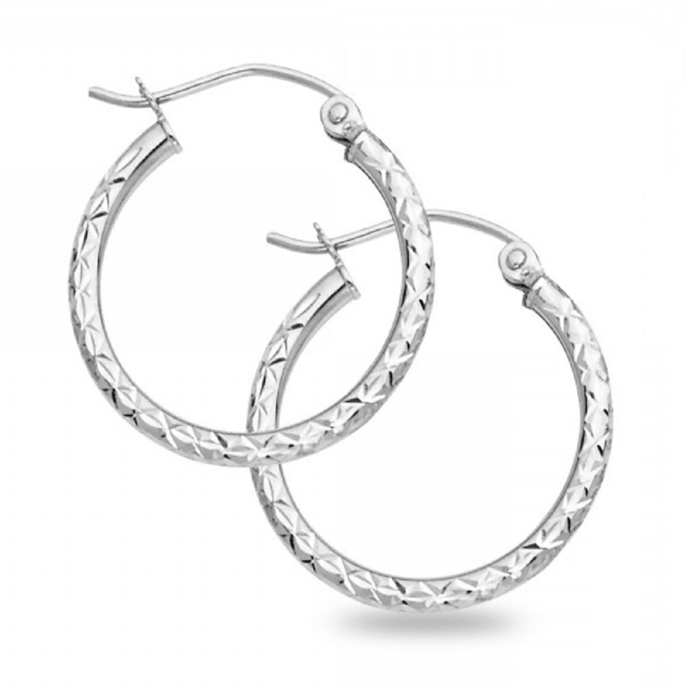 14k White Gold Round Hoop Earrings Diamond Cut Genuine Polished Finish French Lock (Size Options) GemApex 51108W57
