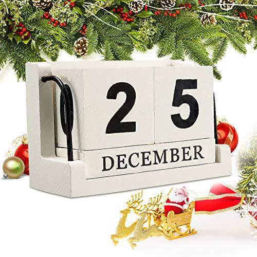 - Jeteven Vintage Wood Perpetual Calendar, Shabby Chic Blocks Desktop Calendar Home Office Decoration, White, 4.33''X2.17''X2.95''