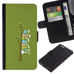 All Phone Most Case / Oferta Especial Cáscara Funda de cuero Monedero Cubierta de proteccion Caso / Wallet Case for Apple Iphone 6 PLUS 5.5 // Cute Funny Bird Tree