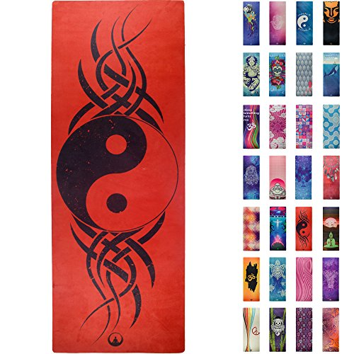 Soul Obsession Printed Yoga Mat, Prana Yoga Mat, Bikram Yoga Mat - Incredibly Comfortable Yoga Mats for Men and Women - Gorgeous Microfiber Printed Designs - Ying Yang in Red/Black -
