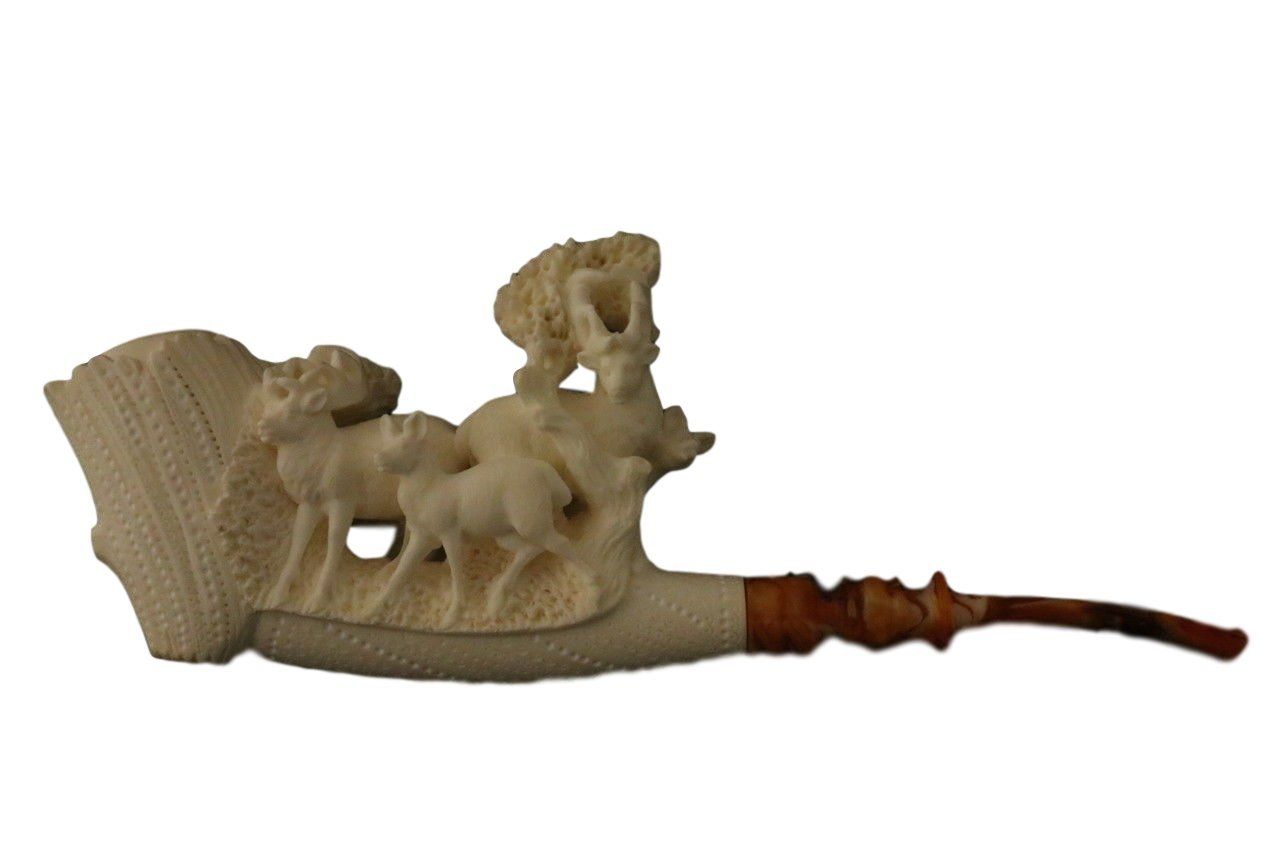 Deer Family - New - Meerschaum Pipe - Hand Carved from the Best Quality BLOCK Meerschaum - Comes in a CASE - NEW