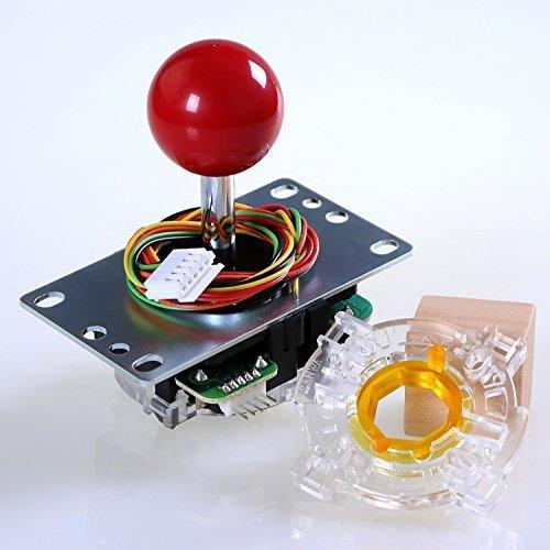 Easyget Original SANWA JLF-TP-8YT Joystick + Original SANWA GT-Y Octagonal Restrictor Gate Kit for Arcade DIY, Raspberry PI Arcade DIY, Mame Cabinet Project - Color: Red