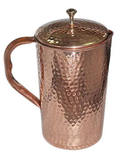 Pure Copper Hammered Water Jug Copper Pitcher for Ayurveda Health Benefit Hammered Finished by Parijat Handicraft (Image #1)
