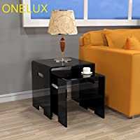 ONELUX Set Of 2 Waterfall Acrylic Nesting Side Sofa Table, Lucite Occasional Riser Small Tea Tables (black)