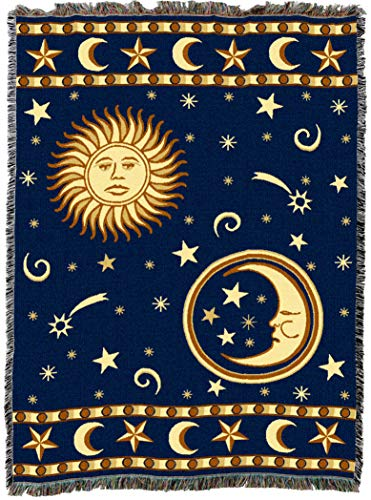 Pure Country Weavers | Moon Sun and Stars Blue Woven Blanket | Wall Tapestry Throw with Fringe Cotton USA 72x54