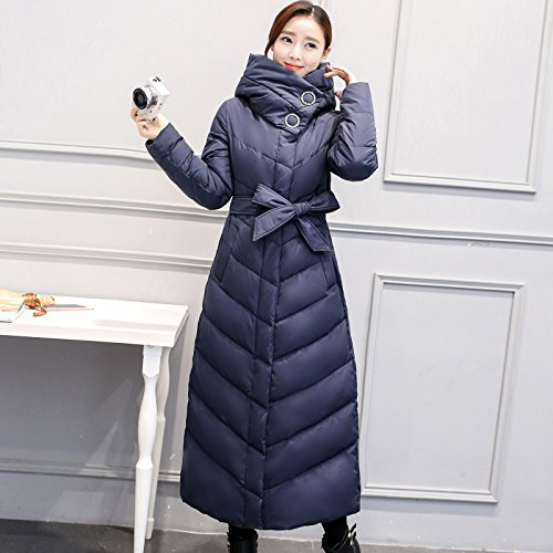 button Thicken Color DYF sleeve Long Big Down Coat Solid Blue Scarf Jacket XL size Hide U8pTZUP