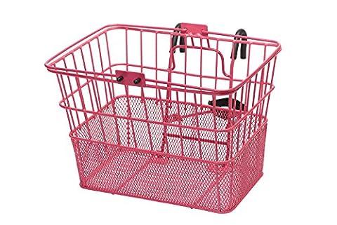Retrospec Detachable Steel Half-Mesh Apollo Lift-Off Bike Basket with Handles, Pink - Schwinn Bike Accessories