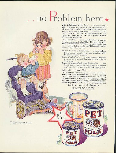 No problem here Pet Evaporated Milk ad 1929 Lucile Patterson Marsh art from The Jumping Frog