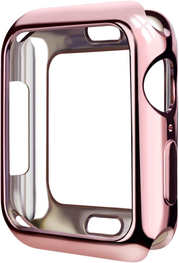SMEECO Case for iWatch 42mm Series 3 Series 2 Series 1 Apple Watch Cover iWatch Case Metaliz Hood Flexible Clear Soft TPU Lightweight Protective Pretector Cover-Shiny Rose Gold