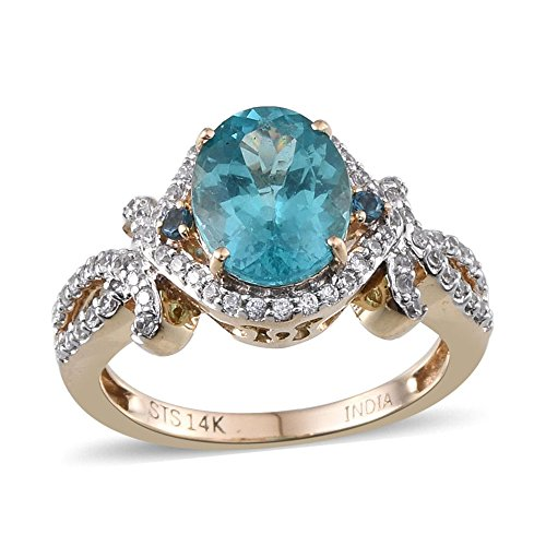 - 14K Yellow Gold Ring Apatite Zircon Jewelry for Women Size 7 Ct 91