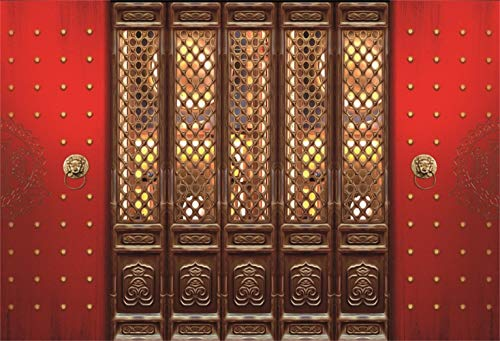 Laeacco 10x8ft Ancient Chinese Style Wooden Carved Door Embeded in Red Iron Door Vinyl Background Antique Cultural Relics Heritage Backdrop New Year Celebration Party Banner Child Adult Shoot