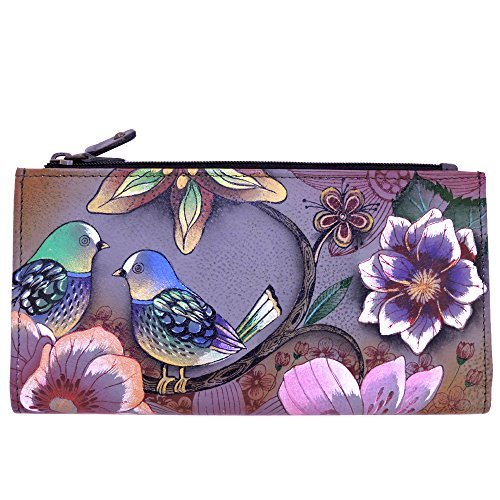 Anuschka Two Fold Organizer Genuine Leather Hand Painted Snap & Zip Wallet (Blissful Birds) ()
