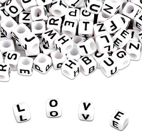 Maksuzee 600/1200/1620PCS Acrylic Letter Beads A-Z Letter Round/Cube Alphabet Letter Beads for Jewelry Making Bracelets Necklaces and Key Chains