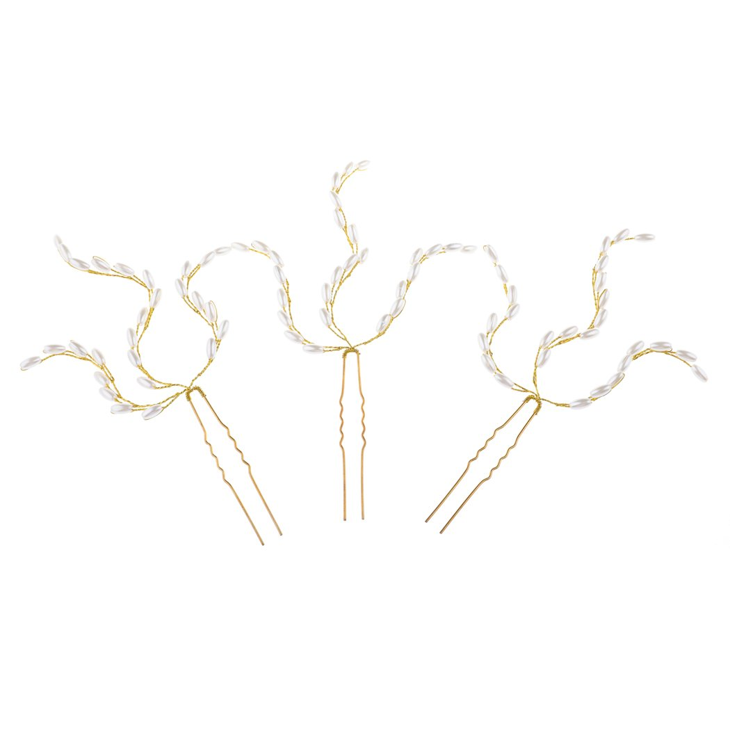 Unicra Handmade Gold Hair Pins for Brides and Flower Girls(pack of 3)