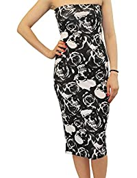 Chocolate Pickle Womens Floral Printed Pencil Midi Dress Strapless Boob Tube Dress