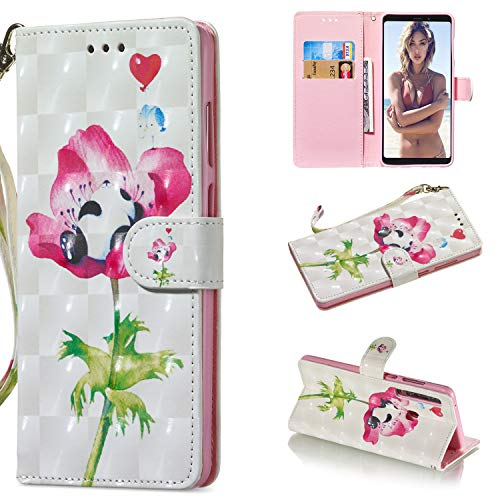A920 Cell Phone Accessory - Amocase Wallet Case with 2 in 1 Stylus for Samsung Galaxy A9 2018/A920,Luxury 3D Panda Rose Art Printed Scratch Resistant Magnetic Kickstand Full Body Soft Silicone Strap PU Leather Case