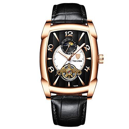 se Tourbillon Luminous Square Shaped case Leather Automatic Mechanical Men Watch T805B ()