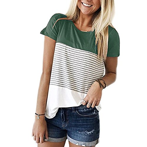 ROVLET Short Sleeve Round Neck Triple Color Block Stripe T-Shirt Casual Blouse (X-Large, Green.)