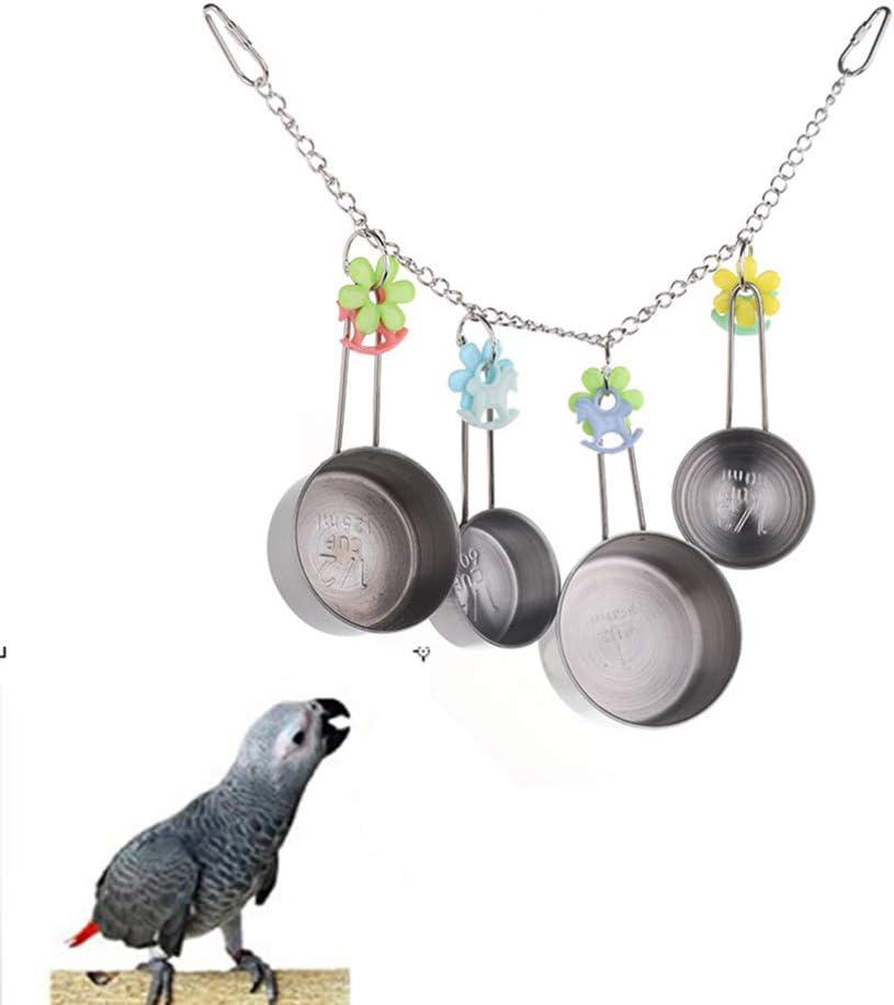 Hemobllo 1 Set di pentole Giocattolo con Gabbia ad Anello Piccolo Resistente Durevole in Acciaio Inossidabile Mazzo di pentole per Uccelli Pappagallo cacatua