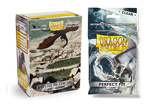 Dragon Shield Bundle: Classic Hunters in The Snow Art Sleeves - 100 Count Standard Size Deck Protector Sleeves + 100 Count Clear Inner Card Sleeves