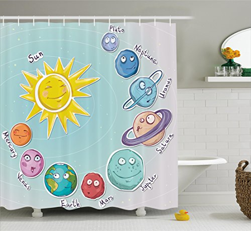 Ambesonne Space Shower Curtain, Cute Cartoon Sun and Planets of Solar System Fun Celestial Chart Baby Kids Nursery Theme, Fabric Bathroom Decor Set with Hooks, 70 Inches, Multi by Ambesonne