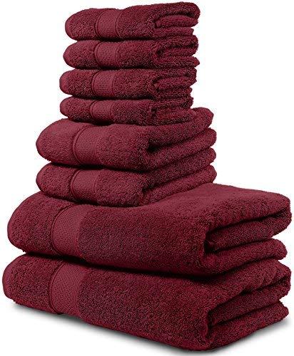 Maura 8 Piece Bath Towel Set 2 Bath Towels, 2 Hand Towels, 4 Washcloths. Premium Quality Turkish Towels. Super Soft, Plush and Highly Absorbent. (Towel Set – Set of 8, Burgundy)