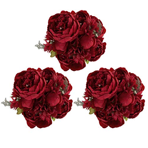 (EZFLOWERY 3 Pack Artificial Peony Silk Flowers Arrangement Bouquet for Wedding Centerpiece Room Party Home Decoration, Elegant Vintage, Perfect for Spring, Summer and Occasions (3, Spring)