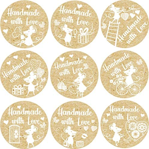 "500 Handmade with Love Kraft Stickers in Roll 1.4"" inch Diameter - Craft Labels for Homemade Products - Brown Paper Circle Label"