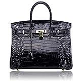 Kueh Crocodile Padlock For Women Designer Top Handle Handbags With Gold Hardware