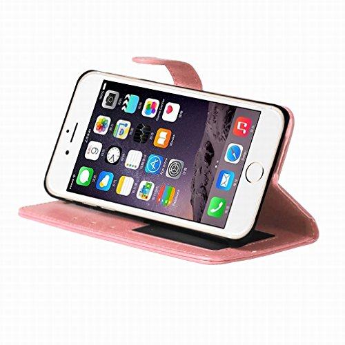 Yiizy Apple IPhone 7 Funda, Bastidor Diseño Solapa Flip Billetera Carcasa Tapa Estuches Premium PU Cuero Cover Cáscara Bumper Protector Slim Piel Shell Case Stand Ranura para Tarjetas Estilo (Rosa)