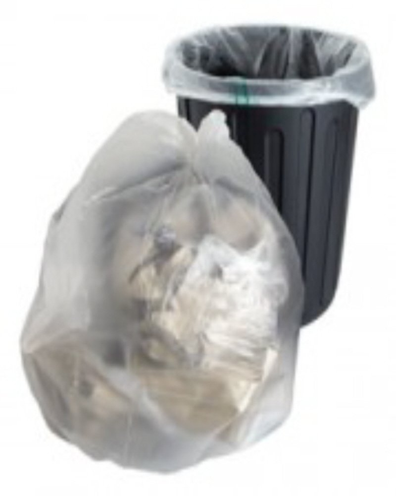 10 Large Strong Clear Plastic Polythene Bin Liners Bags Sacks Size 18 x 29 x 39' Refuse Rubbish Waste Recycling Dustbin