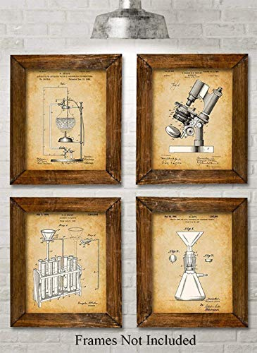 Original Science Lab Equipment Patent Prints - Set of Four Photos (8x10) Unframed - Makes a Great Gift Under $20 for Scientists or Inventors (Vintage Periodic Table)