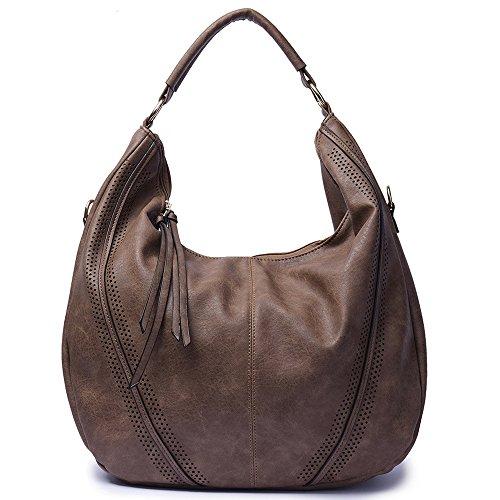 Mn&Sue Women Hobo Shoulder Bag Top Handle Satchel Large Fashion Handbag - Mother's Day Gift Purse (Dark (Suede Satchel Bag)