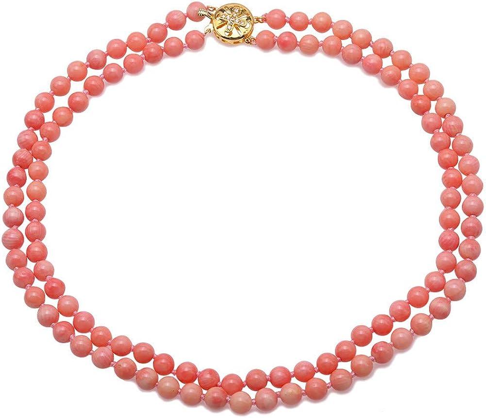 JYX Collar de coral de doble hebra de perlas de 7,5 mm redondo de coral rosa para mujer de 46 a 51 cm
