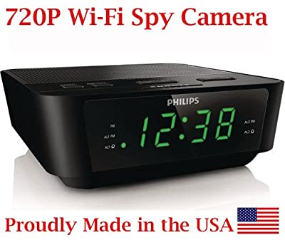 SpyGear-720p Alarm Clock Radio HD WiFi Spy Camera Covert Hidden Nanny Camera Spy Gadget ( BVCAM ) - AES Spy Cameras