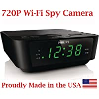 720p Alarm Clock Radio HD WiFi Spy Camera Covert Hidden Nanny Camera Spy Gadget ( BVCAM )