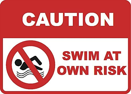 Swimming POOL SWIM AT OWN RISK Sign NO RUST DURABLE ALUMINUM FULL COLOR SIGN