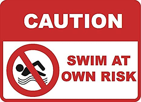 2 Pack Caution - Swim at Own Risk Spa Sign - Swimming Pool Signs - Aluminum  Metal