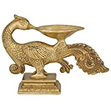 Oil Wick Lamp Diya Hindu Puja Peacock Decor Brass Sculpture Art 6.5 Inch