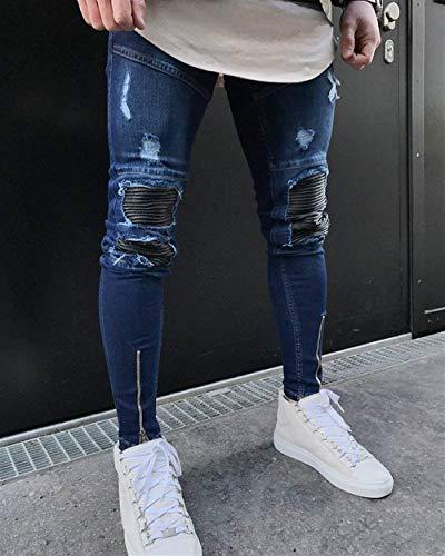 Jeans Casual Haidean Moderna Stretti Skinny Slim Blau Casual Vestibilità Uomo Da Slim Pantaloni d6aqwaXx
