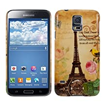 kwmobile Hard case Design Eiffel Tower bird for Samsung Galaxy S5 / S5 Neo / S5 LTE+ / S5 Duos in beige yellow light pink