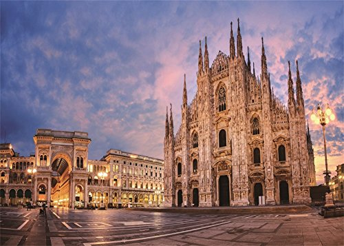 (Leowefowa 7X5FT Castle Backdrop Milan Cathedral of The Nativity of The Virgin Mary Blue Sky White Clouds Travel Vinyl Photography Background Kids Adults Photo Studio Props)