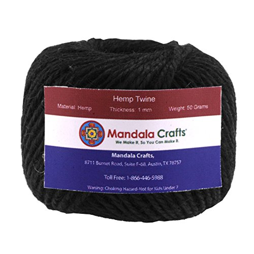 Mandala Crafts 1.5mm 170FT Colored Natural Rustic Hemp Twine Thread Cord Burlap String Rope Spool Roll (Hemp Twine Wholesale)