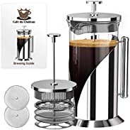 Cafe Du Chateau French Press Coffee Maker (8 Cup,34 oz) with 4 Level Filtration System,Stainless Steel,Heat Re