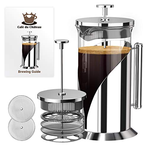 French Press Coffee Maker (34 Ounce) with 4 Level Filtration System - 304 Grade Stainless Steel - Heat Resistant Borosilicate Glass by Cafe Du Chateau (Am Lab Cleaning Products)