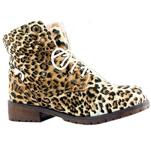 DailyShoes Frauen Kampf Stil Bis Pullover Top Ankle Bootie Mit Tasche Für Kreditkarten Messer Geld Brieftasche Tasche Stiefel Kamel-Leopard Sv